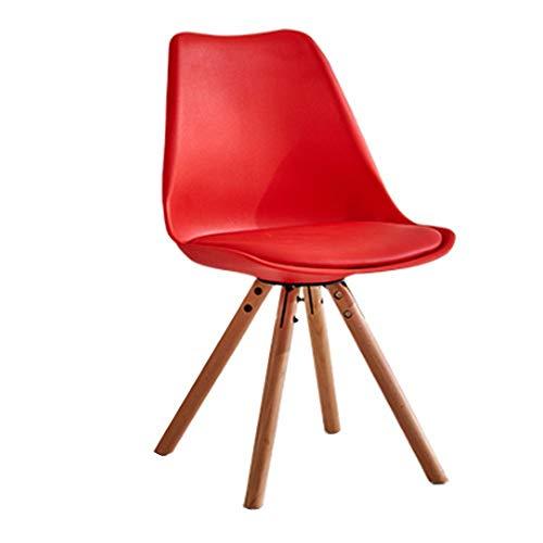 Chair lvyanfei Silla de Comedor Moderna de Piel y Madera Sillón de salón Gris, Azul, Rojo y Naranja. Estilo Sencillo. Hotel/Salón/Cocina/Comedor (1)