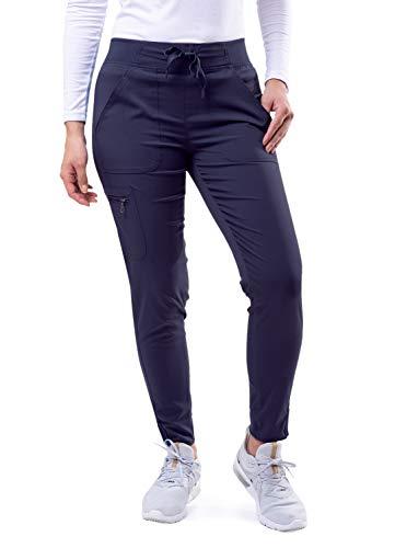 Adar Pro Scrubs for Women - Ultimate Yoga Jogger Scrub Pants - P7104 - Navy - M