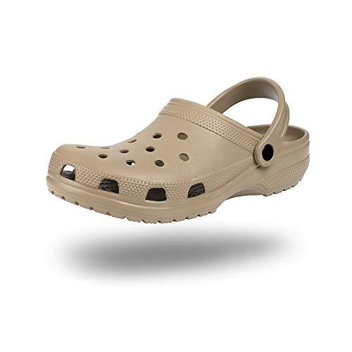 Zuecos Hombre Mujer Goma Transpirables Zapatos da Jardin Plastico Classic Sandalias Playa Casa Cómodo Verano 2801 Caqui 36