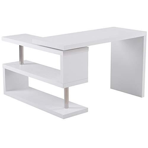 HOMCOM Mesa de Ordenador Mesa de Oficina Reversible para Hogar Escuela 2 Estantes 187,5X 50 x76,1cm Madera Blanco