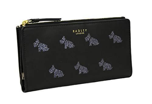 Radley Large Zip Around Matinee Purse Multi Dogs Glitter in Black Leather