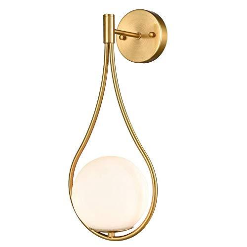 Vidrio de pared de luz, lámpara de pared Oro moderno de mediados de siglo de montaje en pared del accesorio ligero Acabado de latón con el globo de cristal de sombra, Gota de Agua aplique de la pared