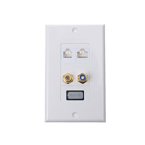 PETSOLA DIY HDMI + RCA + F + 2 Puertos RJ45 Audio Video AV Media Wall Face Plate 1080P