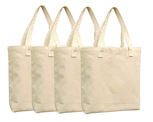 Lino Mantra - 4 Pack Heavy Weight 100% Cotton Oversized Large Tote Bag - 16.5 IN x 15 IN - Natural - Reusable - Use for Groceries or any Shopping trip