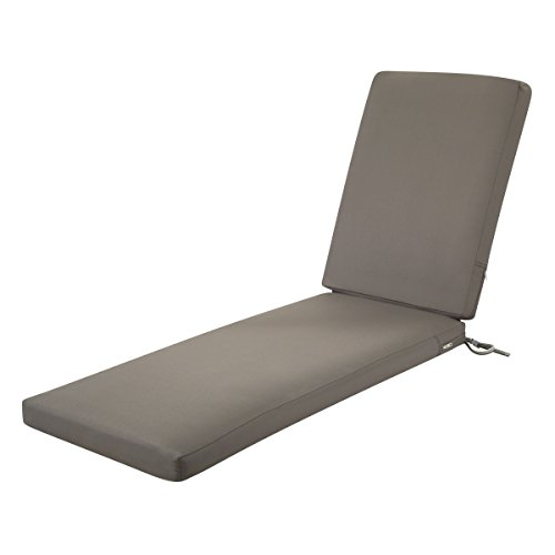 Classic Accessories Ravenna WaterResistant 72 x 21 x 3 Inch Patio Chaise Lounge Cushion Dark Taupe