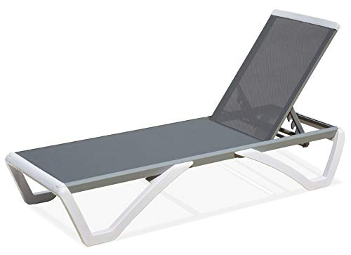 domi outdoor living Aluminum Outdoor Adjustable Chaise Lounge Pool Chair Five-Position Recliner All Weather Resistance,Gray Textilene