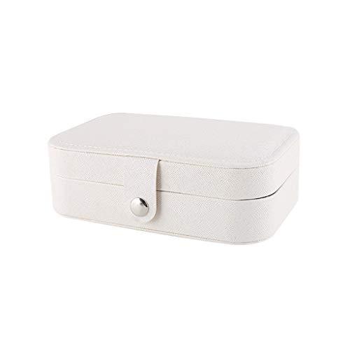 Caja Joyero Almacenamiento caja joyero, simple y la caja de joyería exquisita Mini Pendientes contrario, puede ser utilizado como regalo de boda, regalo de cumpleaños (blanco, rosa) Organizador de joy