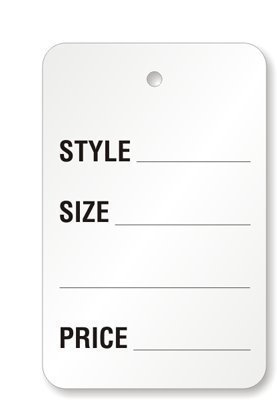 Metronic Price Tags, Perforrated Merchandise Marking Tags, One-Part Paper Tags, 1-1/4 x 1-7/8 - Inches Marking Tags, Pack of 1000 (White)