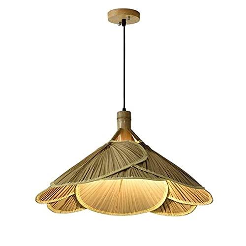 Ventilador de Techo Industrial con Luces Lámpara de luz Lámpara de Techo de ratán con Ventilador y Luces de bambú Candelabro de Estilo Chino Estilo Retro Tejido de bambú Salón de té Casa de f