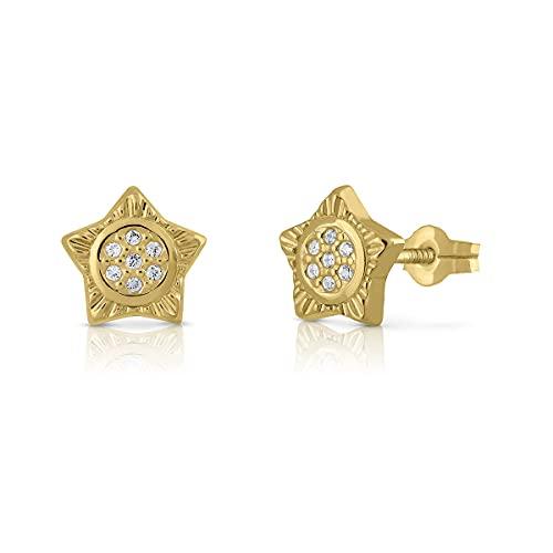 Pendientes Oro de Ley Certificado. Niña/Mujer. Diseño Estrella. Cierre de presión. Medida 9 mm. (1-4513)