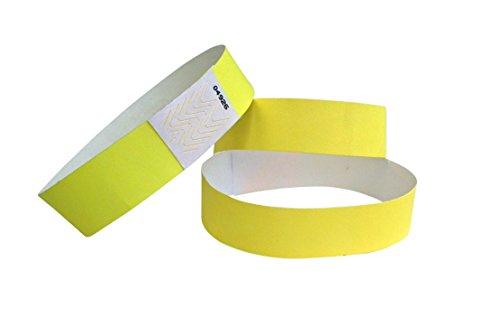 ID-ACC - Braccialetto di controllo accesso in Tyvek, 19 x 225 mm, 500 pezzi, colore: Giallo