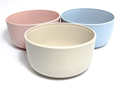 Juego de 3 Cuencos Ecologicos irrompibles, Fabricados con Paja de Trigo, sin BPA, Biodegradables y Eco Friendly, Ideales para Comidas Saludables