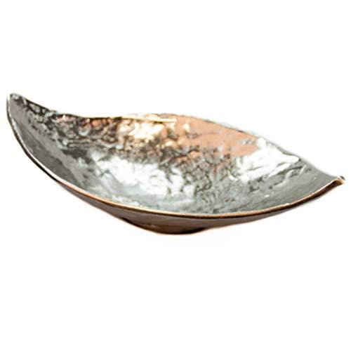 Formano Silberschalen Deko. Deko-Schale oval 38cm Alu-Organic mit glänzender, leicht geprägter Oberfläche