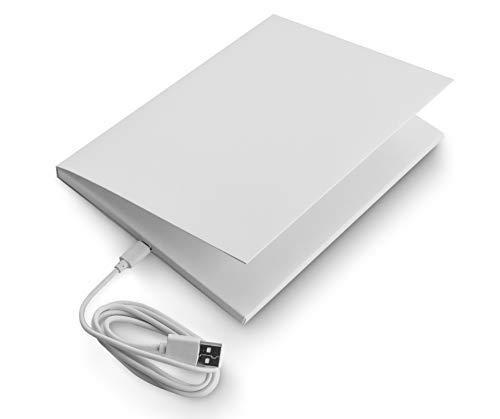 SoundGreets Audio Grußkarte inkl. USB Kabel - Sound Datei (Mp3) bis 8 Min. Länge vom PC per USB aufspielen, Aufladbarer Akku, Top Lautsprecher, Blanko neutral ohne Text mit Musik selbst gestalten