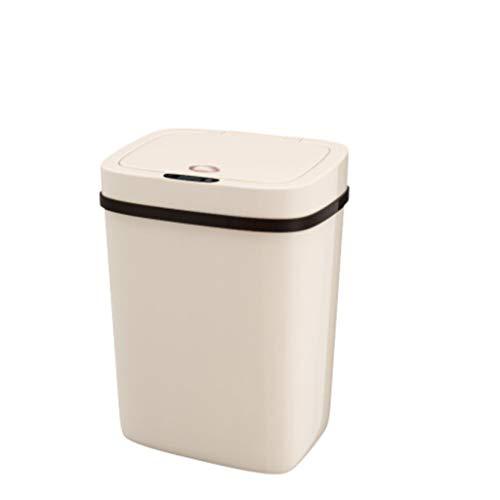 Cubo de la basura Sensor de plástico Inteligente Bote de basura Eléctrico Grande Automático Flip Cocina Sala de estar Baño Cuarto de baño Papelera Residuos domésticos Cesta de papel 12L beige, 7L Blan
