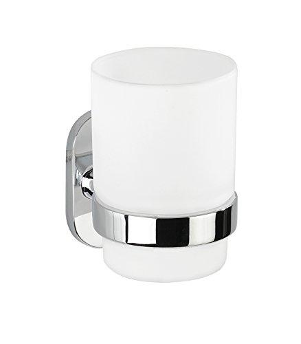 Wenko 22284100 Power-Loc   Uno Puerto Rico Zahnputzbecher-/ Zahnbürstenhalter, für Zahnbürste und Zahnpasta, Befestigen ohne bohren, Zinkdruckguss, 7 x 10 x 10 cm, Chrom