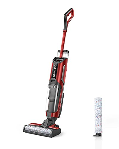 Wet Dry Vacuum Cleaner, RUNVAC Cordless All in One Wet Dry Vacuum Cleaner and Mop & Self-Cleaning, Lightweight Floor Cleaner Machine with 4900mAh Battery for 60min, Upright Vacuum for Multi-Surface