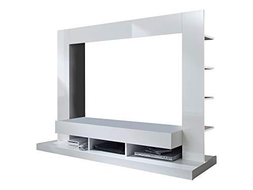 Newfurn Wohnwand Anbauwand Modern Wohnzimmerschrank Wohnlandschaft Mediawand Fernsehschrank II 170x124x 46 cm (BxHxT) II [Halvar.one] in Weiß/Weiß Hochglanz Wohnzimmer