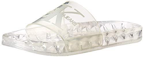 Calvin Klein Herren ELMOS Sandalen zum Reinschlüpfen, Transparenter, durchscheinender Gummi, 45 EU