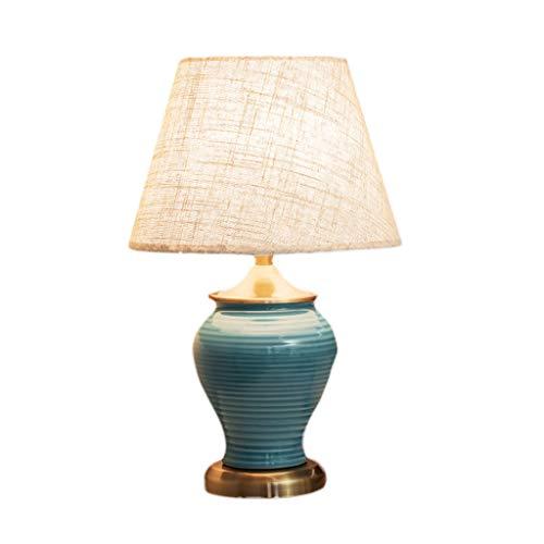 lámpara de mesa Lámparas de escritorio Lámpara de mesa americana de cerámica, dormitorio minimalista moderno, sala de estar del hotel, nuevas lámparas chinas retro cálidas Lámpara de noche Lámpara de