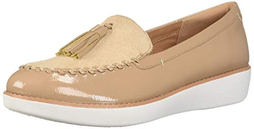 FitFlop Women's Paige Faux-Pony Moccasin Loafer Flat, Taupe, 7 M US