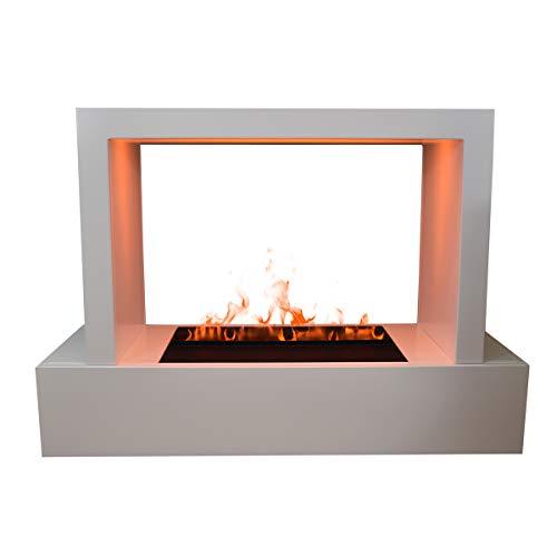 GLOW FIRE Humboldt Elektrokamin Opti Myst Cassette 500 3D Wasserdampf Feuer, elektrischer Raumteiler Standkamin mit Fernbedienung, Tunnel Kamin | Regelbarer Flammeneffekt, 80 cm, Weiß