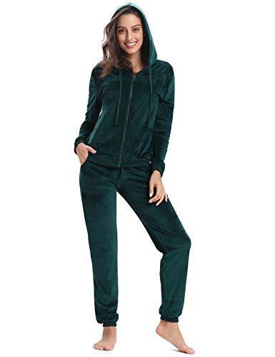 Aibrou Tuta Donna Sportiva per Primavera Autunno Completi Sportivi Due Pezzi Tuta da Ginnastica Abbigliamento Sportivo Donna Pigiama Set