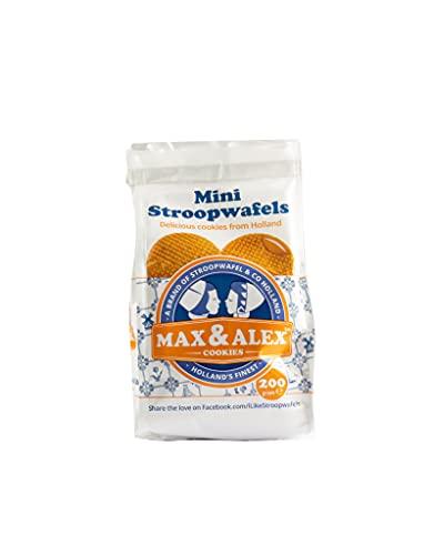 Max & Alex Mini Stroopwafels 200 gram Zakjes Inclusief 20 Mini Stroopwafels met Zijdezacht Boterachtig Karamel Vulling