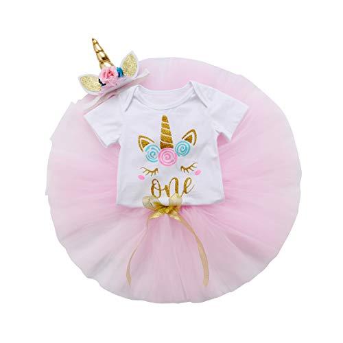Wide.ling Peuter Baby Meisje 1e Verjaardag Kleding Eenhoorn Romper Tutu Kant Rok+3D Bloemen Eenhoorn Hoofdband Herfst Outfits Kleding
