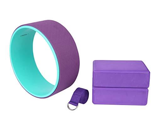 Exerz Conjuntos de iniciación para Yoga 4 Piezas - 1 x Rueda de Yoga, 2 x Bloques de Yoga,1 x Cinturón - Yoga/Pilates - Estiramiento, Equilibrio, Soporte- para Todos los Niveles- Púrpura