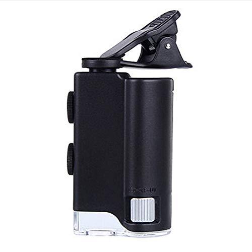 FSYG 60X-100X Einstellbar Tasche Mikroskop Eingebaut UV Licht und LED Taschenlampe mit Handy Clip zum Bildung Wissenschaft