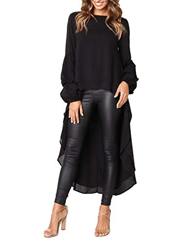 MISSLOOK Women's Lantern Long Sleeve Tops High-Low Hem Tunic Round Neck Asymmetrical Irregular Hem Casual Blouse Shirt Dress - Black S