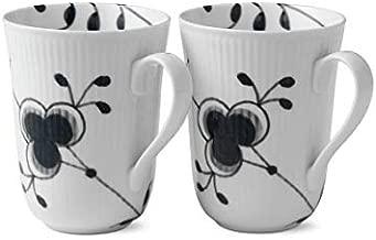 Black Fluted Mega 11 oz. Mug (Set of 2)