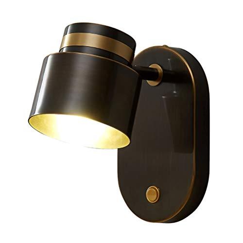 Aplique LED con Interruptor, Lámpara de Pared Ajustable de Metal en Negro / Dorado, Base G9, Lámpara de Cama de Dormitorio para Lámparas de Lectura de Pared Foco de Pared Salón (Contiene Bombilla)