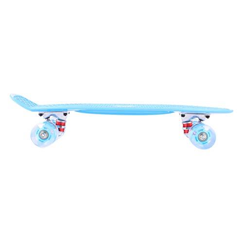 VOSAREA Skateboard Komplett Board Retro Mini Cruiser Skateboard Standplatte mit Leuchtrollen für Erwachsene Kinder Anfänger Jungen Mädchen Blau