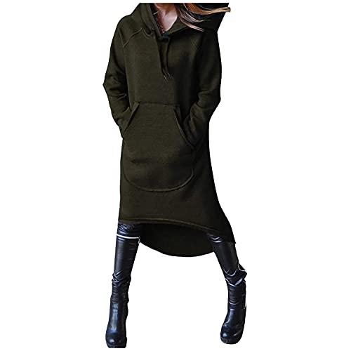NISOWE Sudadera con capucha para mujer, color liso, informal, de manga larga, con bolsillo, Verde militar., L