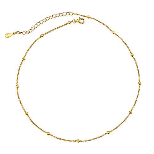 ChicSilver Choker Ajustable Oro Amarillo 18K Dijes Bolas Plata de Ley 925 Broche Garra Langosta Collares Cortos de Cuello