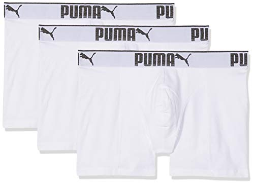 Puma Herren Boxershort Lifestyle Sueded Cotton 3er Pack, Größe:M, Farbe:White (300)