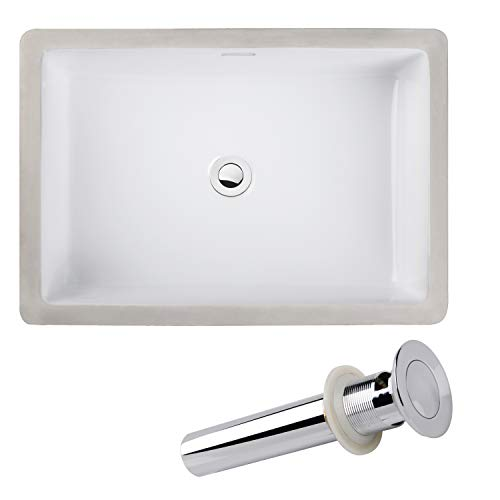 Enbol ECU1912S Rectangular Undermount White Porcelain Ceramic Lavatory Bathroom Vanity Sink with Overflow and Pop up Drain Combo