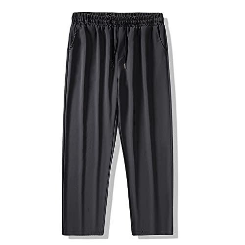 Pantalones Casuales de Hombre Moda de Primavera y otoño Rectos Casuales Jóvenes Pantalones Holgados cómodos y versátiles Color sólido con Bolsillos y cordón S