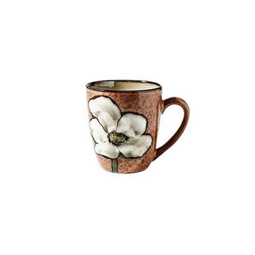 Copa De Vino Taza De Café Tazaceramic MugsHome Breakfast Milk Cups Hand-Painted Flower Language Ceramic Mugs Sim