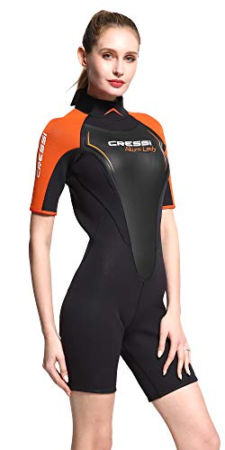 Cressi Altum Lady 3 mm Wetsuit, Muta Shorty Ottima per Snorkeling e Immersioni in Acque Temperate Donna, Nero/Arancio, XS