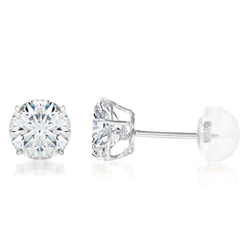 14K White Gold Round Solitaire Cubic Zirconia CZ Stud Push Back Earrings - 1.25ct (7mm)