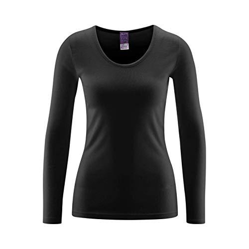 Living Crafts Damen Langarm Unterhemd 4359 aus Bio Baumwolle, schwarz Gr. 36/38