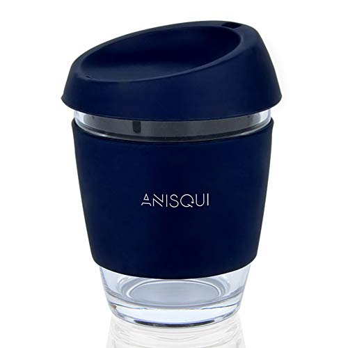AniSqui Taza de café de Cristal Reutilizable (350ml, sin BPA, Tapa de...
