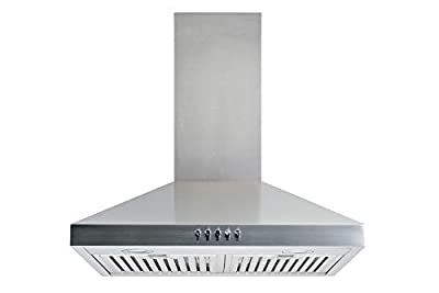 "Winflo 30"" Convertible Stainless Steel Wall Mount Range Hood with Stainless Steel Baffle filters or Mesh Filters, LED lights and 3 Speed Push Button Control"