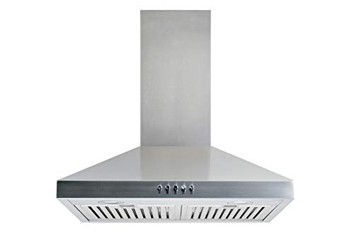 Winflo 30 In. Convertible Stainless Steel Wall Mount Range Hood with Stainless Steel Baffle Filters and Push Button Control
