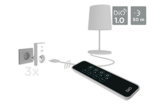 Prese Telecomandate Dimmer.Dio Connected Home 54798 Kit 3 Prese Telecomandate Dio First Bianco Nero