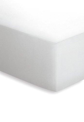 schlafgut Mako-Jersey Basic Spannbetttuch, Baumwolle, Weiss, 200 x 200 cm