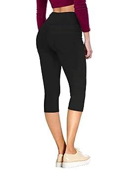 Hybrid & Company Womens Super Stretch 5 Button Skinny Capri Q45074SK Black 1